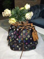 Authentic Louis Vuitton Monogram Multicolor Shoulder Bag Petit Noe Drawstring