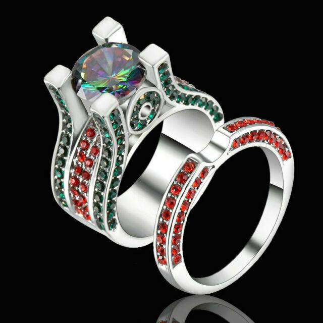 Size 8 Platinum Plated Wedding Ring Set Princess Rainbow