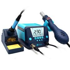 2 In1 90w Soldering Rework Stations Smd Hot Air Amp Iron Gun Digital Display 110v