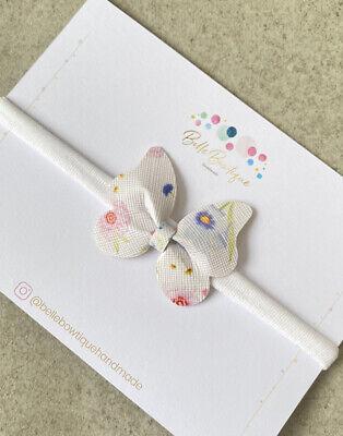 Rainbow Chunky Glitter Headband Soft Photo Prop Nylon Baby Newborn Butterfly