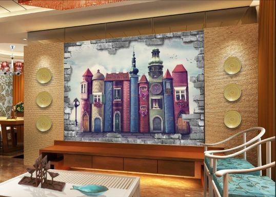 3D Schöne Burg Farbe 266 Fototapeten Wandbild Fototapete BildTapete Familie
