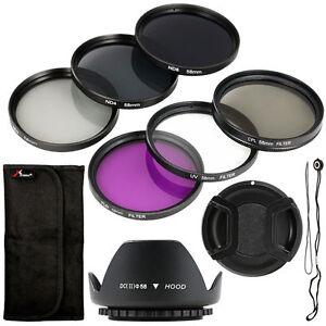 Neu-Filter-Set-Sonnenblende-Objektivdeckel-58mm-fuer-Kamera