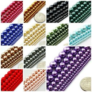 TOP-Quality-Czech-Glass-Pearl-Smooth-Space-Round-Beads-3-4-6-8-10-12mm-16-034-USA