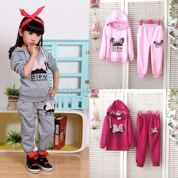 Baby Kid Girls Sports Hoodie Jacket Outfits Set Long Sleeve Cartoon Sweat Suit
