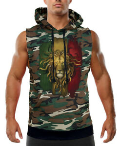 598d94b0f Men's Rasta Lion Flag Camo Sleeveless Vest Hoodie Jamaica Pride ...