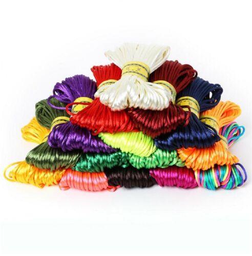 20m x 2mm Rattail Satin Nylon Cord String Knot Braiding Kumihimo Rope Thread UK