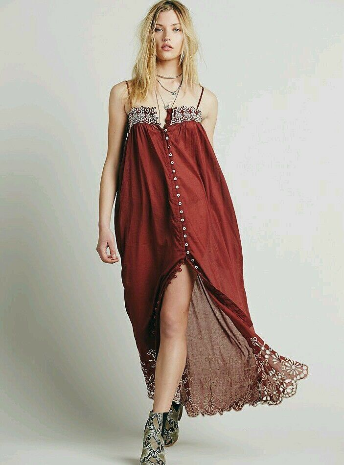 NWT Free People orig  Rust Molly Slip embroiderot button down dress L 12