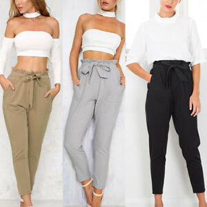 shop best sellers coupon code factory outlets Details about UK 8-24 ZANZEA Womens Vintage High Waist Bow Tie Slim Pants  Trousers Plus Size