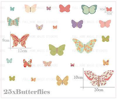 25 Beautiful Butterflies Wall Stickers Colorful Baby Nursery Girls Room Decor