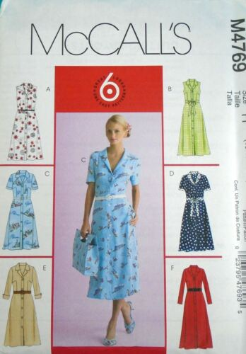 McCalls Sewing Pattern M4769 Button Down Dress Easy 6 style Miss Plus Size 8-22