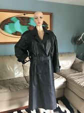 Phase 2 Black Genuine Leather Classic Belted Trench Coat Full Length Woman's L