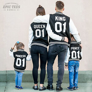 King Queen Prince Princess Family Varsity Jackets Matching College
