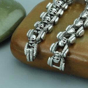 Punk-Men-039-s-Jewelry-Heavy-316L-Stainless-Steel-Biker-Skull-Bracelet-Chain-8-5-034