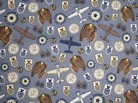 1.8 Yard Long Bolt End Maverick Quilt Fabric Patches Blue Airplane C3282