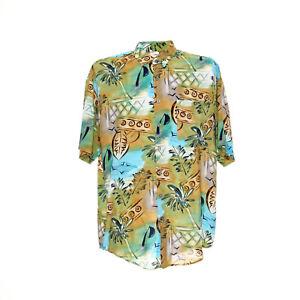 Herren-Vintage-Hemd-Groesse-M-Freizeit-Shirt-Hawaii-Motiv-Retro-Kurzarm-Viskose