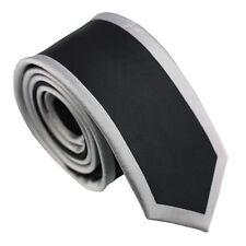 Coachella Ties Black Stripe with Silver Border Design Necktie Fashion Skinny Tie