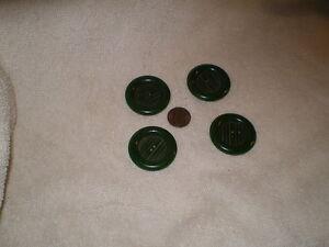 Antique Spinach Green Cut Bakelite Buttons (4)