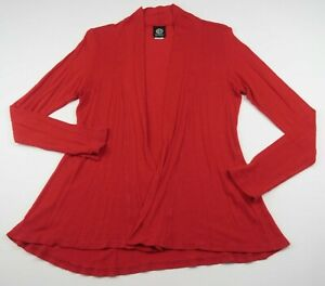 Bobeau-Womens-Stretch-Rayon-LS-Bright-Red-Open-Front-Cardigan-Shrug-Sweater-S