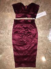 New Portia&Scarlett Burgundy Sweetheart Plunge Barbie Dress Set Size XS