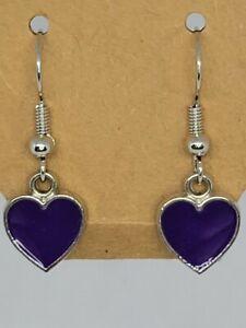 Purple Heart Dangle earrings