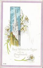 Antique Postcard Easter, Church Steeple, Flowers and Verse, Made in USA E-133
