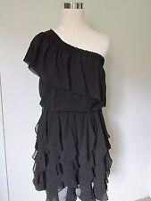 Jessica Simpson Black Chifon One Shoulder Tiered Kneelength Dress NWOT SZ: S