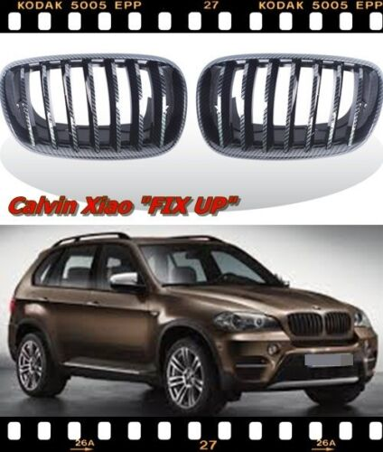 MIT CARBON LOOK FRONT KIDNEY GRILLE BMW X5//E70 X6//E71 X SERIES  2007-2013
