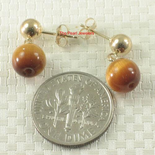 Gemstone Brown Tiger Eye Dangle Stud Earrings; 14k Yellow Solid Gold TPJ
