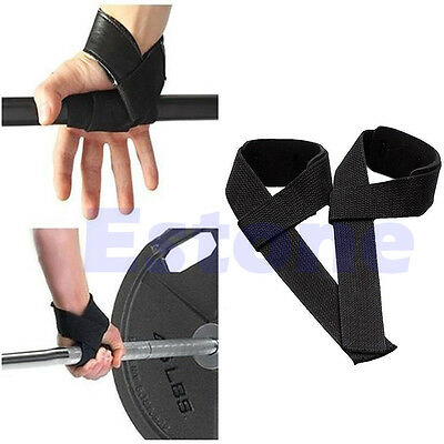 For Weight Lifting Training Gym Wrist Support Gloves Wrap Hand Bar Black Straps