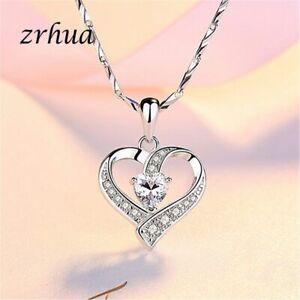 Herz Kette echt Silber 925 Halskette Anhänger mit Zirkonia Damen Geschenk
