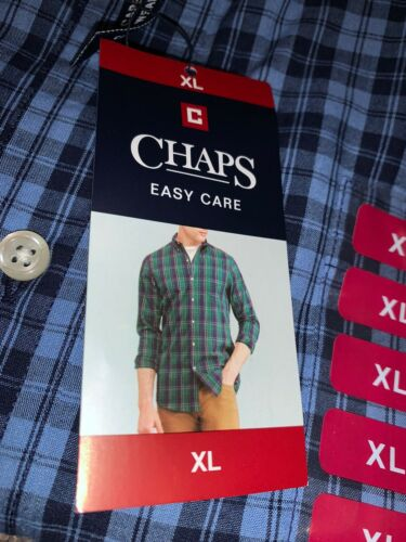 MSRP $55 New Mens Chaps Button-up LS Blue Dress Shirt XLarge