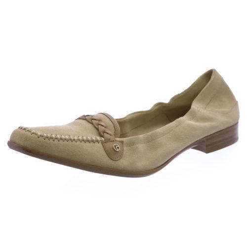 GIORGIO ARMANI AUTH  499  Women Beige Suede Leather Square Toe Loafers Size 7.5M