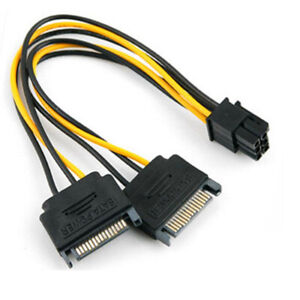 [6 pack] 6 pin PCIe to Dual SATA Adapter Cable - 7.5in / 18cm GPU Mining 8pcs