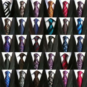 Lot-Mens-Classic-100-Silk-Tie-Necktie-Striped-White-Black-JACQUARD-Neck-Ties