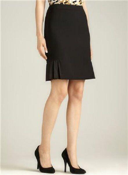 52fbb709d2a Tahari ASL Pencil Skirt Sz 16 Black Solid HENRY Pleated Career Straight  skirt