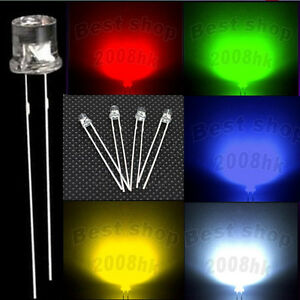 10-50-100pcs-3mm-5mm-Flat-top-white-red-yellow-green-blue-Mix-LED-light
