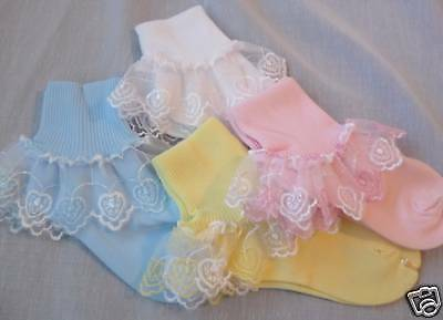2 Frilly Lace Heart Dress Socks Pink White Blue Yellow!