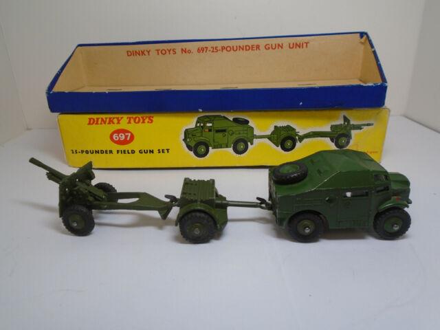 Dinky Toys #697G 25-POUND FIELD GUN SET, 688 TRACTOR/687 AMMO/686 25LB GUN  NMIB