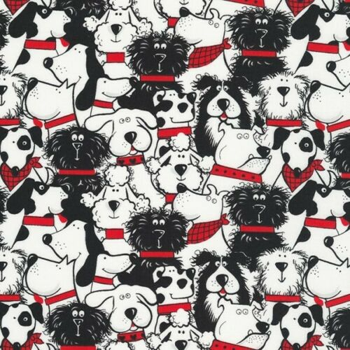 100/% Cotton Fabric Timeless Treasures Black /& White Stacked Dogs Red Collars