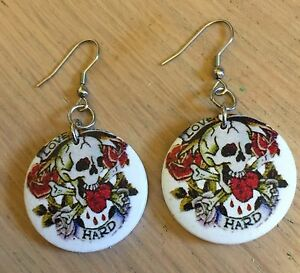 Tattoo-Style-Skulls-amp-Roses-Earrings-Rockabilly-Steampunk-Goth-Emo-4-Designs