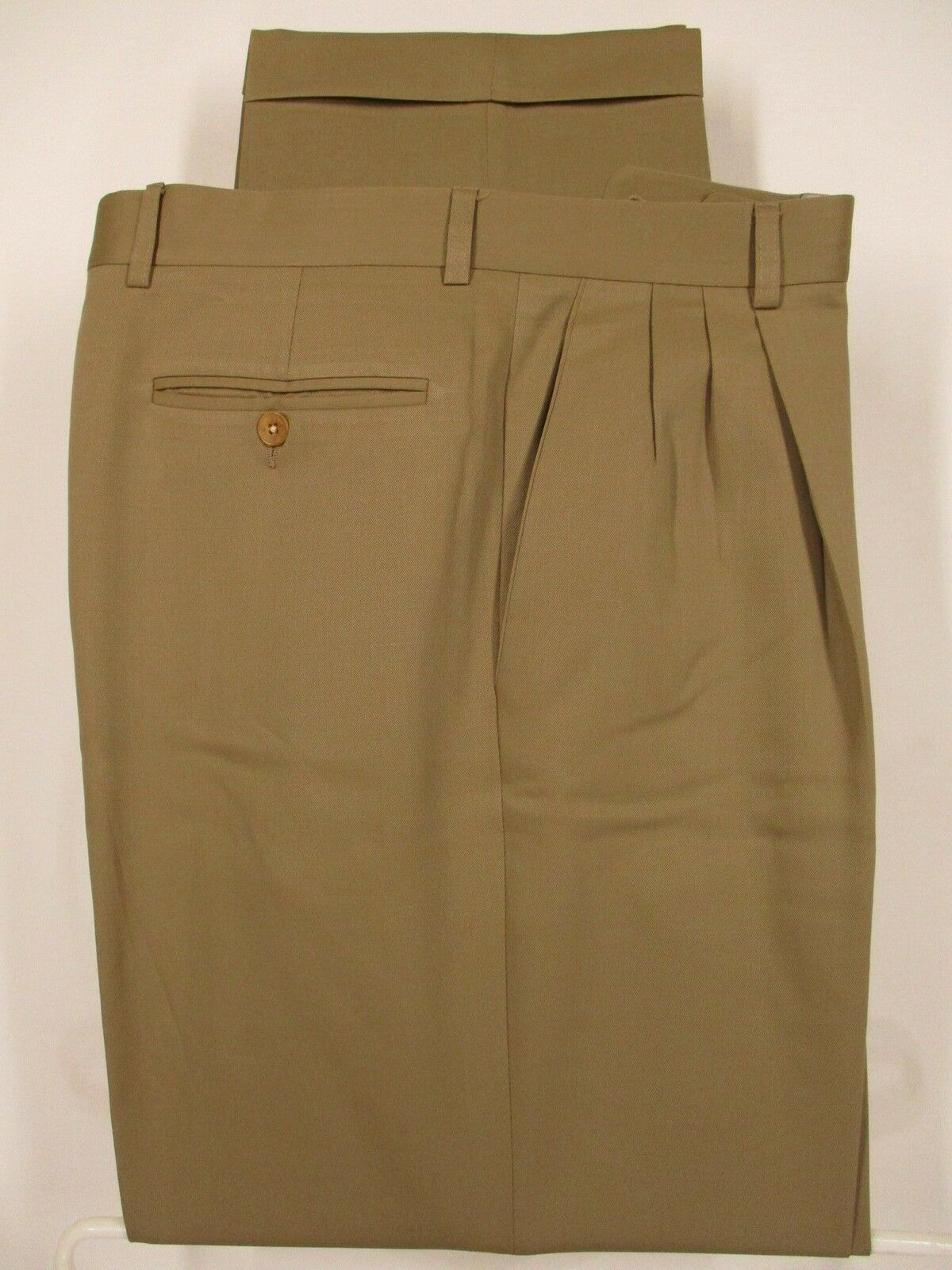 Zanella Mens Beige Pleated Wool Dress Pants size 34 34x31