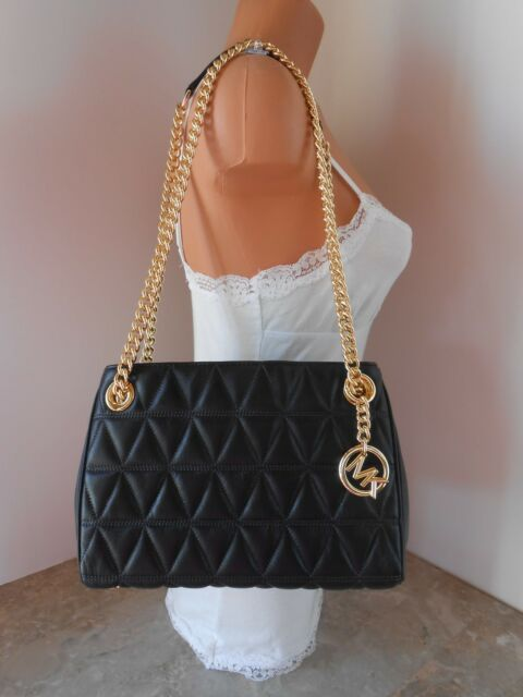 17c1f99cb6bd New MICHAEL KORS Scarlett Medium Messenger Quilted Leather $328 BLACK GOLD