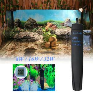 8-16-32W-Mini-Aquarium-Heater-Fish-Tank-Submersible-25-77F-Water-thermostat-UK