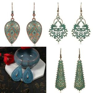 Vintage-Bohemian-Ethnic-Tribal-Bronze-Carved-Ear-Stud-Women-Hook-Dangle-Earrings