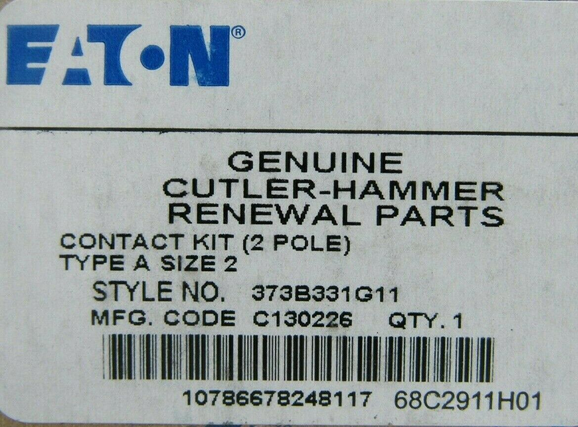 EATON CUTLER HAMMER A200 Size 2 Contact Kit 2 Pole 373B331G11