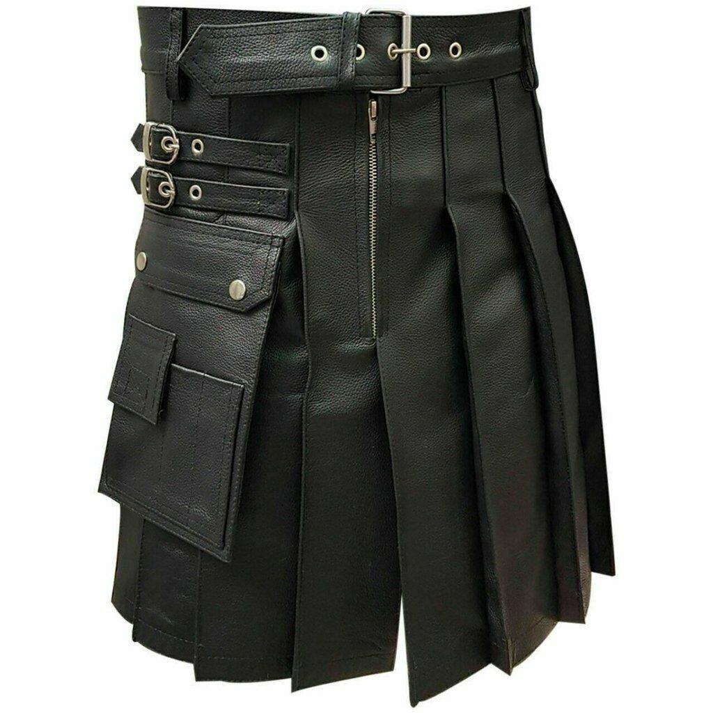 Men's Leather Kilt Fetish Design Cow Plain Leather Flairs Kilt