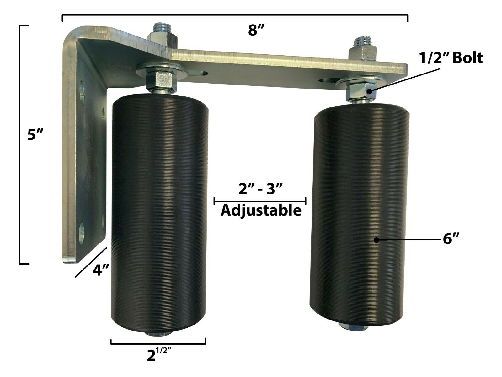 "Slide Gate Guide Rollers 3/"" L Bracket Black Hard Nylon for Sliding Rolling Gates"