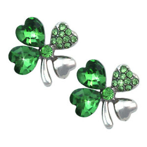 Image Is Loading Heart Shape 4 Leaf Clover Irish Shamrock Stud