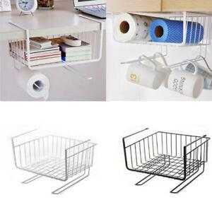 Kitchen-Storage-Basket-Rack-Table-Wire-Mesh-Under-Shelf-Cabinet-Organizer-Holder
