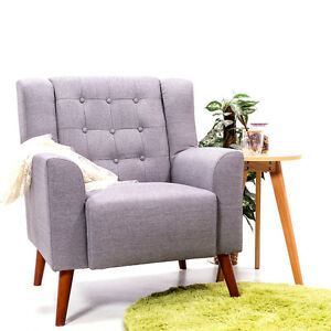 Image Is Loading Modern Linen Fabric Upholstered Sofa Chair Dining Living